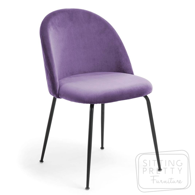 Mystere Velvet Chair – Lilac with Black Legs by LaForma