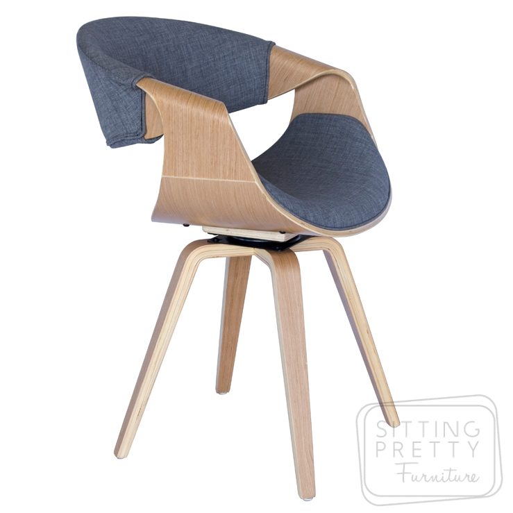 Riley Swivel Chair – Oak/Grey Fabric