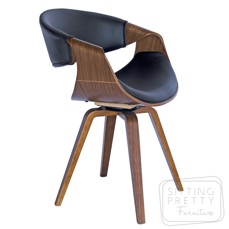 Riley Swivel Chair – Walnut/Black PU