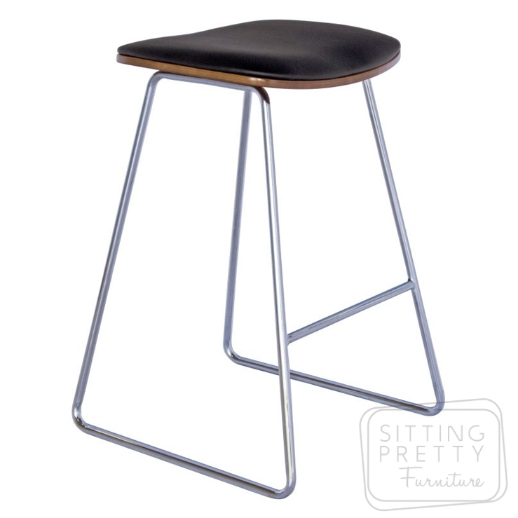 Daniel Stool -Black Seat/Chrome Leg