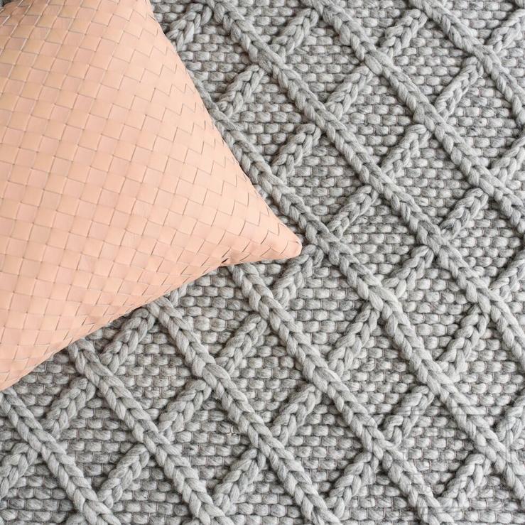 Diamond Honeycomb Wool Rug – Grey by Oh Happy Home