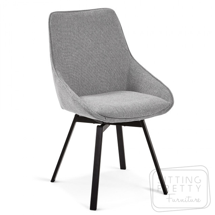 Haston Swivel Chair by LaForma – Grey Fabric
