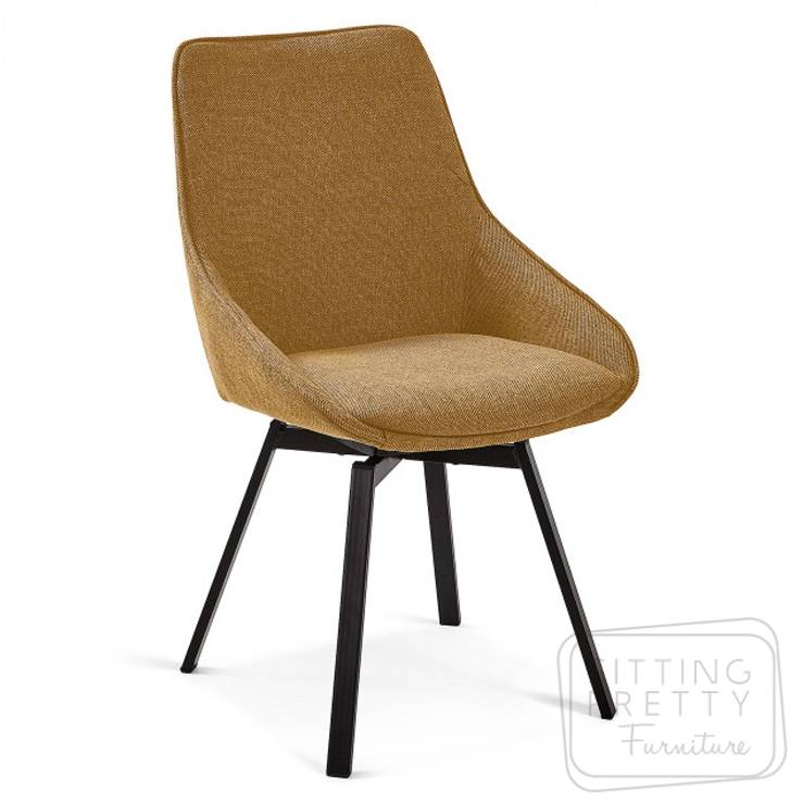 Haston Swivel Chair by LaForma – Mustard Fabric