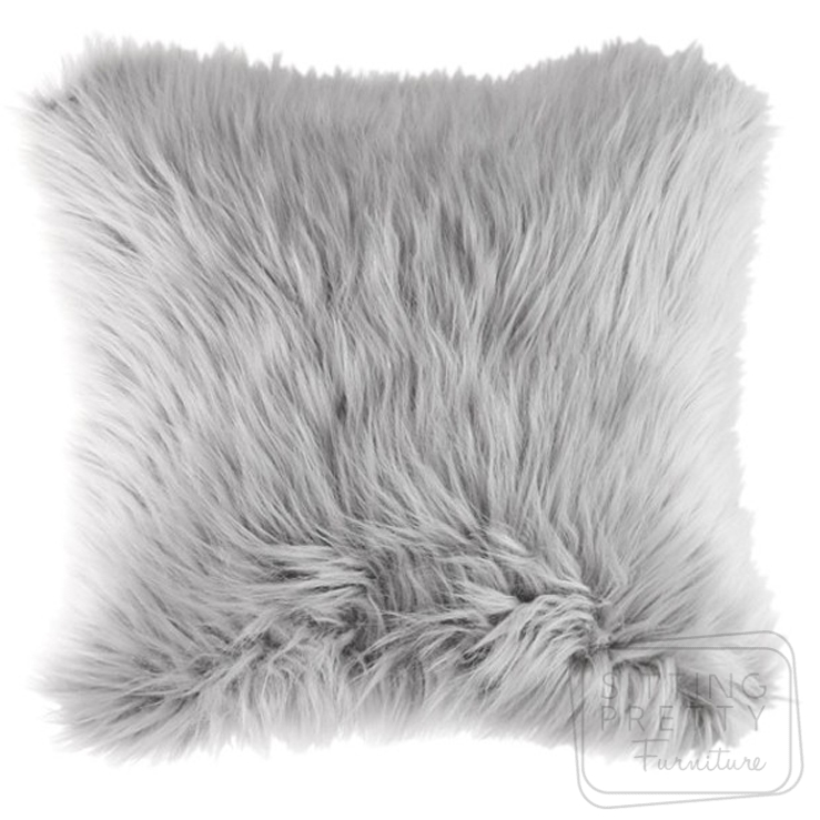 Adora Faux Fur Cushion – Grey