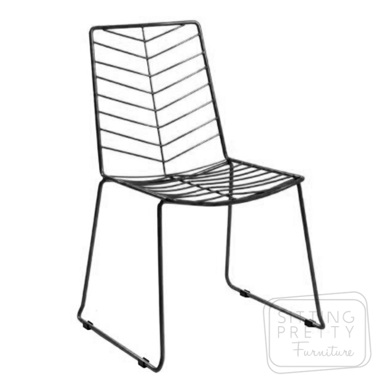 Chevron Stackable Wire Chair – Black