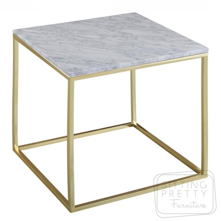 Leonardo Lamp Table – Marble/Gold
