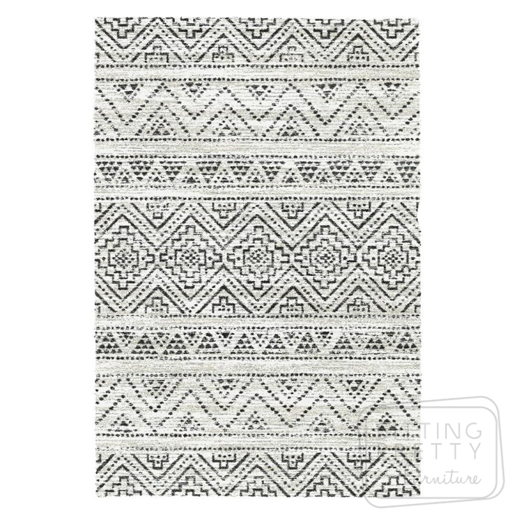 Vision Rug – Monochrome Aztec – ONE LEFT