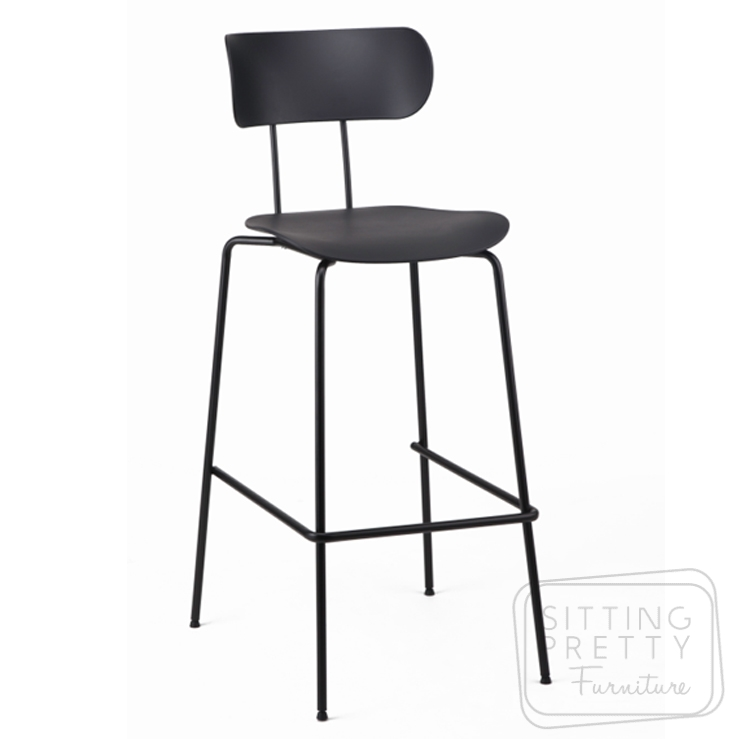 Bowie Bar Stool – Black (75cm Seat Height)