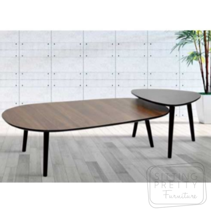 Draper Coffee Table Set – Walnut/Black