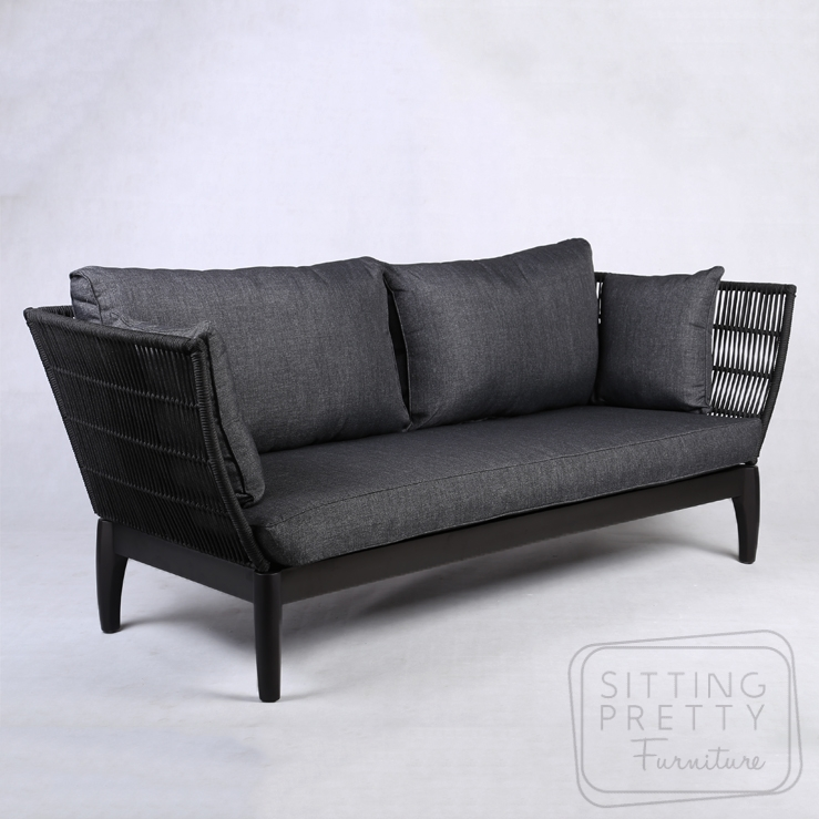 Byron Three Seater – Black Rope with Charcoal Seats