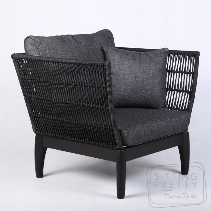 Byron Single Seater – Black Rope with Charcoal Cushions