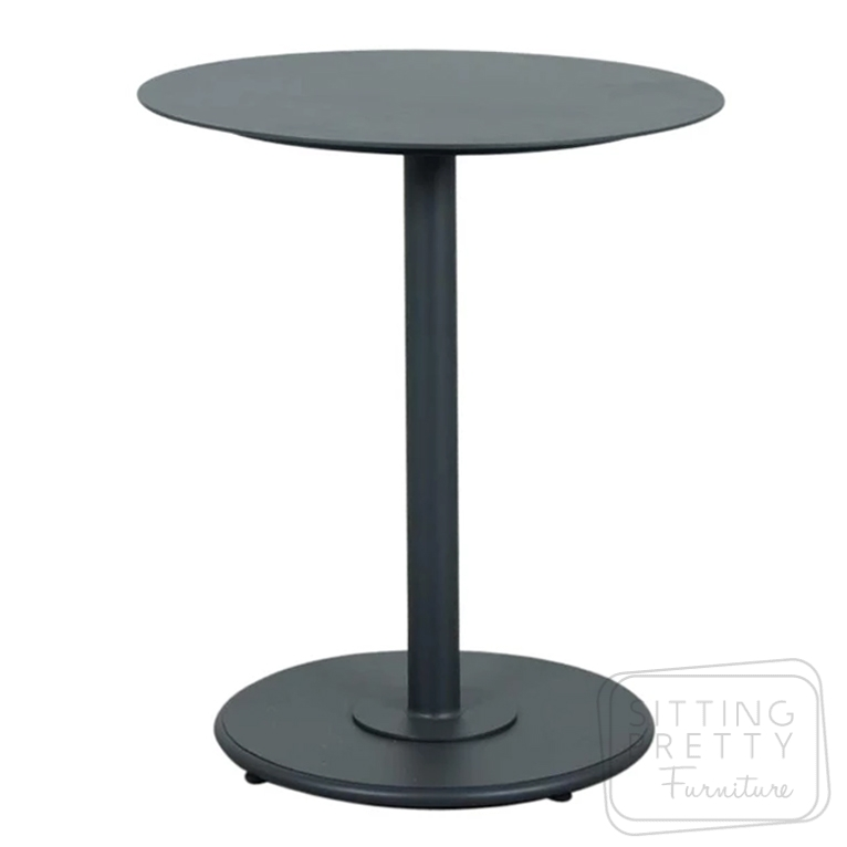 Checker Aluminium Bistro Table – Gunmetal – 65cm ø