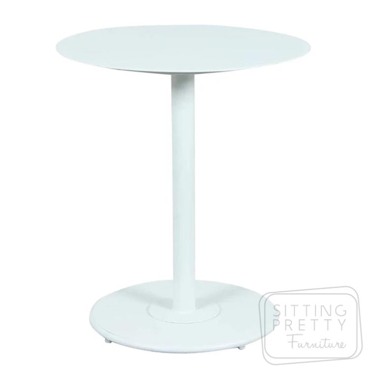 Checker Aluminium Bistro Table – White -65cm ø